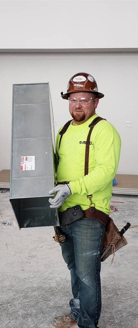 Sheetmetal Journeyman Justin Ingram as Craft Professional of the Year for the 2021 ABC Awards Submission